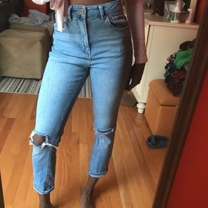 ASOS high waisted jeans with ripped knee